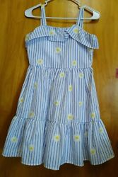 RARE EDITIONS Girls WHITE and Blue Dress Size 14 Summer Spring $17.00