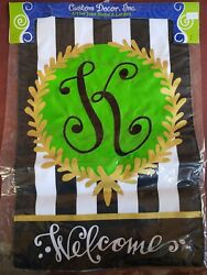 """Embroidered Monogram quot;K"""" Welcome Garden Flag Custom Decor Double Sided 12quot;x18quot; $9.95"""