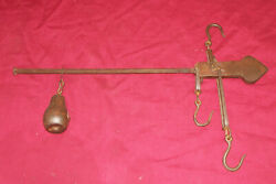 Antique Hanging Sliding Balance Scale Trappers Meat Tobacco Cotton Old Vintage $69.95