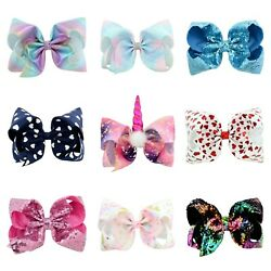 9 Pcs 8in Hair Bows Clips Grosgrain Ribbon Hair Bow girls hair accessories $14.99