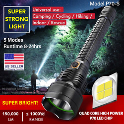 SUPER BRIGHT 150000LM LED Rechargeable Flashlight Tactical Torch XHP70 5 Modes $28.99