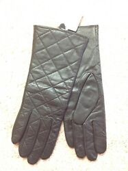 Merona Quilted Black Leather Driving Gloves Lined Small Medium NEW NWT $9.99