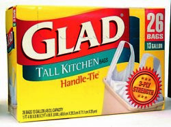 Glad Tall Kitchen Bags Handle Tie 13 Gallon 26 Ea $13.38