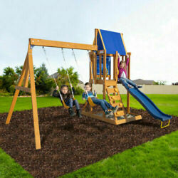 Wooden Swing Set Kids Slide Outdoor Backyard Playground Play Set Clubhouse $499.99