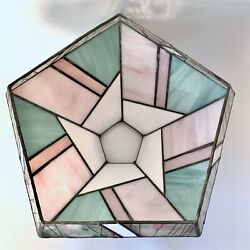 Vintage Stained Glass Hanging Shade Deco Mid Century Ceiling Pentagon 5 sided $39.99