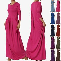 TheMogan S 3X Long Sleeve Shirred Viscose Jersey Round Neck Long Maxi Dress TALL $17.49