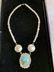 1940's Jim Brady Redfeather Sterling silver Navajo Turquoise Necklace $2700.00