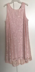 Women Pink Lace Dresses Sleeveless Knee Length High low Lined $12.25
