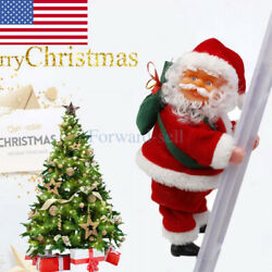 Animated Musical Santa Claus Climbing Ladder Up Tree Christmas Decoration