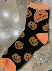 Pumpkin Spooky Halloween Novelty Socks Women Men Adults Orange Black $8.70