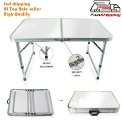Portable Indoor Outdoor Aluminum Folding Table 4#x27; Picnic Party Camping US seller $34.99