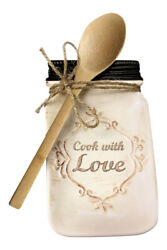 Cook with Love Ceramic Kitchen Canning Jar Shaped Spoon Holder With Wooden Spoon $15.88