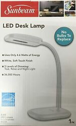 SUNBEAM WHITE FLEXIBLE NECK LED DESK LAMP ADJUSTABLE LIGHT ENERGY STAR NEW $13.56