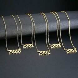 Personalized Birth Year Date Necklace Jewelry 1982 To 2009 Gold Number Pendant $7.74