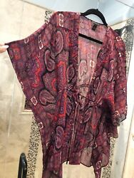 INC Sheer Red Paisley L 14 Beach Kimono Bathing Cover Up Black NEW $40.00