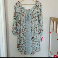 Xhilaration Blue floral boho Print lined Bohemian dress Sz M $19.99