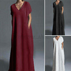 Women Short Sleeve V Neck Casual Long Maxi Dress Plain Loose Evening Party Dress $16.19