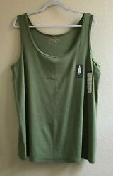 Terra amp; Sky Womens Plus Green Super Soft Layering Tank Top Shirt Size 2X 20W 22W $6.98