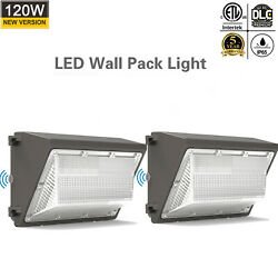 2Pcs 120W LED Wall Pack Light Commercial Outdoor Floodlight 450W Equivalent