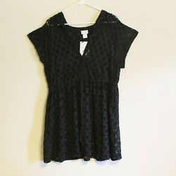 NWT Profile by Gottex Hooded Beach Dress Swimsuit Cover Up Black LG $19.99