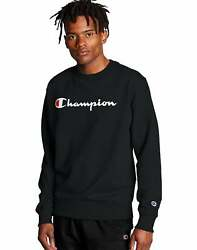 Champion Men#x27;s Sweatshirt Powerblend Crew Neck Script Logo Athletics Midweight $22.32