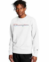 Champion Men#x27;s Powerblend Crew Sweatshirt Split Script Logo Midweight Fleece $23.24