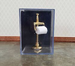 Dollhouse Miniature Toilet Paper Stand Brass Gold Reutter 1:12 Scale Bathroom $22.00