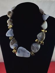 Fernando Rodriguez Jewelry Designer for Siman TU Blue Gray Stone Golden Necklace