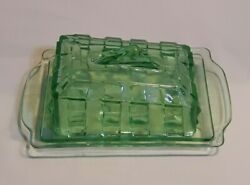 Art Deco 1930s era GREEN Depression Glass 8quot; x 5quot; x 3.5quot; Butter Dish. NICE $28.00