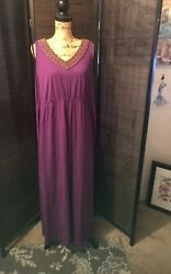 Sonoma Womens Fall Dress Beaded Boho Purple Maxi Plus Size 1X Casual Knit Plum $18.98