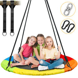 40quot; Saucer Swing Tree Swing Round Plate 100cm Outdoor Backyard Playing Toys Kids $78.88