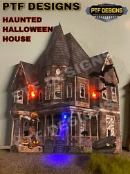 """O Scale 🎃 """"HAUNTED HALLOWEEN HOUSE """" 👻 BUILDING FLAT W LEDs MTH LIONEL $23.99"""