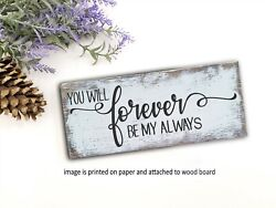 Forever my Always farmhouse sign rustic home decor family 8x3x1 8quot; $13.99