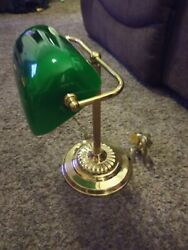Vintage Bankers Piano Brass Desk Lamp Green Glass shade w Pull Chain $42.99