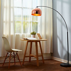 Mid Century Mod Arc Curved Floor Lamp Copper Rose Gold Shade Black Marble Base $155.60
