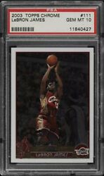 *READ Description 2003 Topps Chrome LeBron James ROOKIE #111 PSA 10 🚨REPACK🏀🔥 $69.95