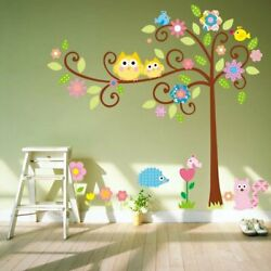 Removable PVC Owls Birds AnimalsTree Style Home Kid Room Wall Stickers Decor US $11.86