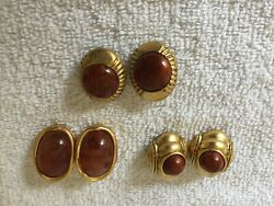 LOT OF 3 GOLD TONE CARMEL TONE CENTER CLIP ON EARRINGS EC16 $7.97