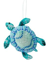 Blue and White Beach Sea Turtle Christmas Holiday Ornament $18.88