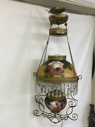 Antique Victorian Hanging Oil Lamp GWTW Converted Electric Rose Painted Shades $1200.00