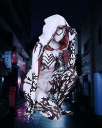 Kids Girls White Venom Costume of Gwen Stacy MARVEL Spider man Cosplay Updated $45.95