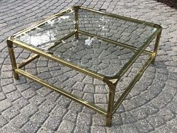 Vintage Mastercraft Solid Brass amp; Glass Top Coffee Table $899.99