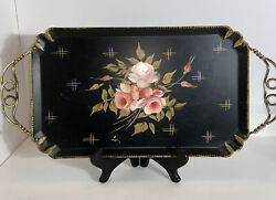Vintage Tole Tray Farber amp; Shlevin Inc. Hand painted Roses by Lori Tray $17.99