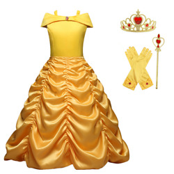 Princess Belle Yellow Off Shoulder Layered Costume Dress With Accessories 2 10T $20.98