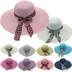 Straw Floppy Hats For Women Wide Brim Summer Sun Beach Sun Visor UV Caps Outdoor $10.06