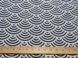 100% Japanese Cotton Fabric Navy Blue White Scalloped Quilt Geometric BTY $7.99
