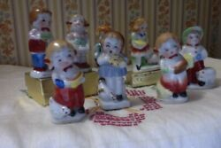 Vintage Japan Occupied Japan Eight Boy Girl Figurines with Chickens Pigs Toy Hor $24.70