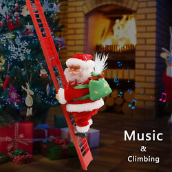 Animated Musical Santa Claus Electric Climbing Ladder Up Tree Christmas Decor US