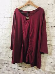 ALLIE amp; ROB BURGUNDY BLOUSE TUNIC Stunning Gold Accent Top Shirt SZ 3X Plus BOHO $28.26