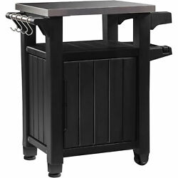 Keter 230852 Unity Portable Table and Storage Cabinet with Hooks Gray Open Box $196.99